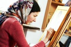 Religious icon painter woman Royalty Free Stock Photo