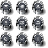 Religious icon set on vector buttons. Full religious icon set on modern vector buttons, including Shinto, Islam, Christian, Jewish, Hindu, and Ankh Royalty Free Stock Image