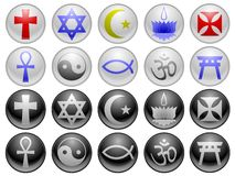Religious icons. Ten religious symbols in two different styles Stock Photography