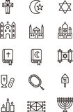Religious icons. Black outline icons relating to Christianity, Judaism and Islam religions on white Stock Photography