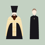 Religious icons with Christian priests. Catholic and Orthodox Stock Photo