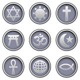 Religious icons on modern vector buttons. Major religions icons on sleek modern vector buttons, including Star is David, sun, cross, shinto temple, hindu om Royalty Free Stock Photo