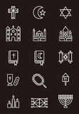 Religious icons. A set of icons related to Christian, Jewish and Muslim religions on black background Royalty Free Stock Photography