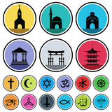 Religious Icons. Vector set of various religious icons Stock Photo