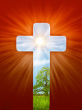 Religious illustration, cross, the light of the world Royalty Free Stock Image