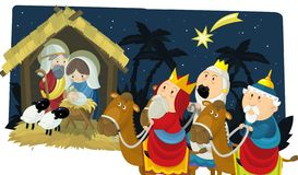 Religious illustration three kings - and holy family - tradition royalty free illustration