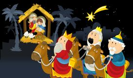 Religious illustration three kings - and holy family - tradition vector illustration
