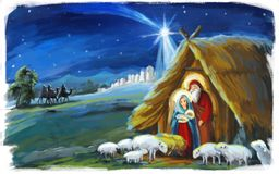 Religious illustration three kings - and holy family - traditional scene. Beautiful and colorful illustration for the children - for different usage - for fairy stock illustration