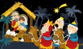 Religious illustration three kings - and holy family - tradition stock illustration