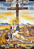 Religious image, Jesus on Calvary, Via Crucis. Altarpiece of glazed tiles with the image of Jesus on Calvary belongs to a Via Crucis in the old Women Hospital in Royalty Free Stock Photos