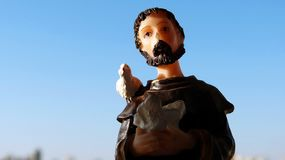 Religious image of Saint Francis of Assisi in resin stock images