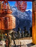 Religious Indian temple in between the mountains stock photos