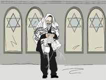 Religious Jew after attending synagogue Stock Image