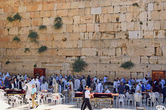Religious jews praying at the Wailing Wall, Jerusalem. JERUSALEM, ISRAEL - June 15, 2017: religious jews, praying at the Wailing Wall  Western Wall or Kotel Stock Photography