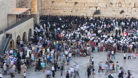 Religious Jews sunset prayer service at the Western Wall, Israel timelapse stock video