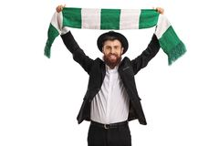 Religious man cheering with a scarf Royalty Free Stock Photo
