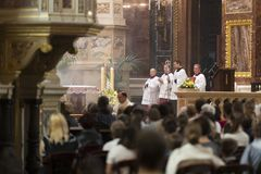 Religious Mass Service in the Basilica of St. Istvan in honor of St. Istvan Day royalty free stock photography