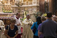 Religious Mass Service in the Basilica of St. Istvan in honor of St. Istvan Day Royalty Free Stock Image