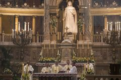 Religious Mass Service in the Basilica of St. Istvan in honor of St. Istvan Day Stock Images