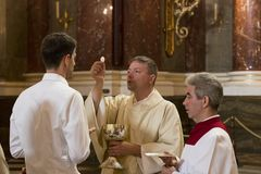 Religious Mass Service in the Basilica of St. Istvan in honor of St. Istvan Day Stock Photo