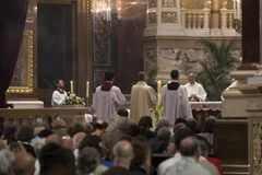 Religious Mass Service in the Basilica of St. Istvan in honor of St. Istvan Day Stock Photos