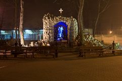 Religious monument in Sosnowiec. Religious monument by night in Sosnowiec Royalty Free Stock Photo