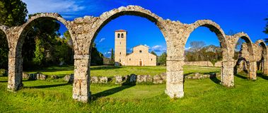 Religious monuments of Italy - Abbey San Vincenzo al Volturno in Stock Photos