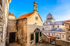 Religious monuments in town Sibenik, Croatia. Stock Images