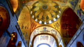Religious mosaic painting on the dome of St. Marco Church intern. Al, Venice Italy stock photos