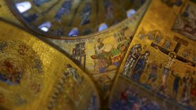 Religious mosaic painting on the dome of St. Marco Church intern. Al, Venice Italy royalty free stock photos