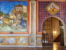 Religious Murals, Mega Spilaio Monastery, Kalavryta, Greece. Imposing religious murals and icons, Mega Spilaio Greek Orthodox monastery, Kalavryta, Peloponnese royalty free stock image