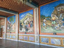 Religious Murals, Mega Spilaio Monastery, Kalavryta, Greece. Imposing religious murals and icons, Mega Spilaio Greek Orthodox monastery, Kalavryta, Peloponnese royalty free stock images
