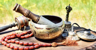 Religious musical instruments for meditation royalty free stock images