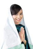 Religious muslim girl smiling, isolated on white Royalty Free Stock Photography