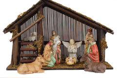 Religious nativity scene. With baby Jesus in the stable Stock Photo