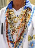 Religious necklaces used at festival stock images