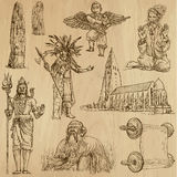 Religious no.11 - Vector pack, hand drawings. Religious around the World (vector pack no.11). Collection of an hand drawn illustrations (originals). Each drawing Royalty Free Stock Photo