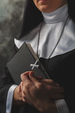Religious nun in religion concept against dark background Royalty Free Stock Image