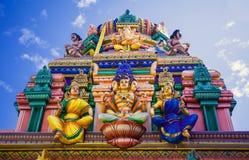 Religious object. Figures of deities Hindu temple facade gopurams Stock Photos