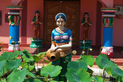 Religious object. Figures of deities Hindu temple facade gopurams Stock Images