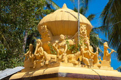 Religious object. Figures of deities Hindu temple facade gopurams royalty free stock images