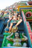 Religious object. Figures of deities Hindu temple facade gopurams Royalty Free Stock Photo