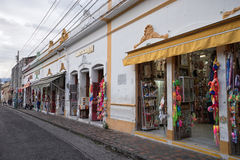 Religious object stores in Buga Colombia. July 10, 2017 Buga, Colombia: religious object stores in Buga Colombia around the main square of the historic centre Stock Photo