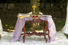 Religious objects. Some religious objects ready for a wedding Royalty Free Stock Image