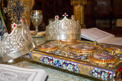 Religious objects for wedding ceremony stock image