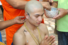 Religious Ordained Ceremony-Prachinburi Thailand. Thai man people when age to 21 altogether will join religious ordained ceremony  ,Thailand on Feb 2016 Stock Photography