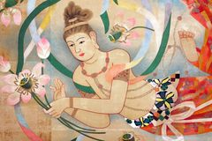 Religious oriental paintings stock illustration