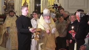 Religious Orthodox worship at the Passover feast in the church temple. Holy priests ritual stock video footage