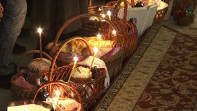 Religious Orthodox worship at the Passover feast in the church temple. Holy priests ritual stock video