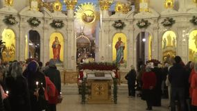Religious Orthodox worship at the Passover feast in the church temple. Holy priests ritual stock footage
